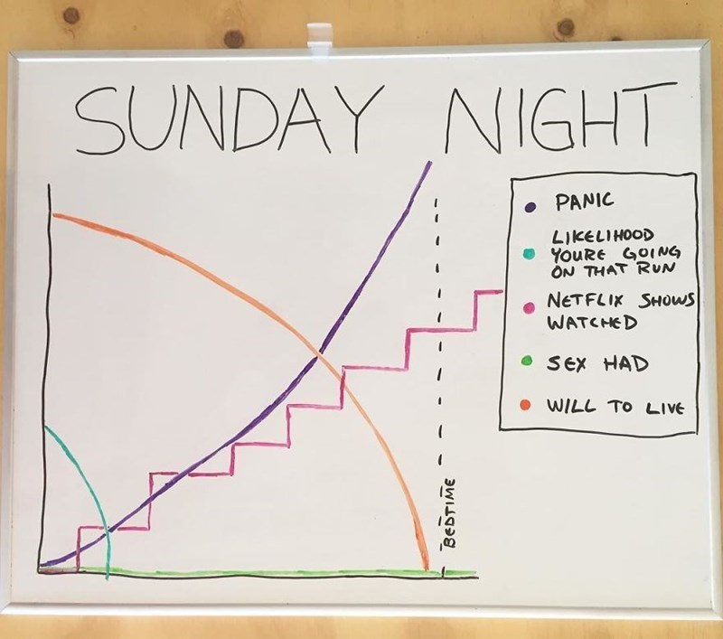 Text - SUNDAY NIGHT PANIC LIKELIHOOD YouRe GOING ON THAT RUN NETFLIK SHOWS WATCHED SEx HAD WILL TO LIVE BEDTIME