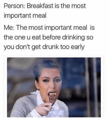 thirsty Thursday meme about eating before going out to drink with pic of Kim Kardashian eating