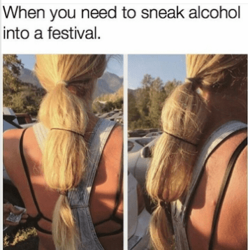 thirsty Thursday meme with picture of girl hiding alcohol bottle in her hair