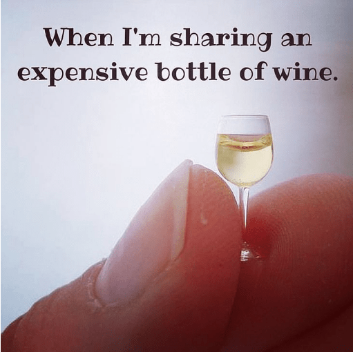 drinking meme about being stingy with expensive drinks with pic of tiny wine glass
