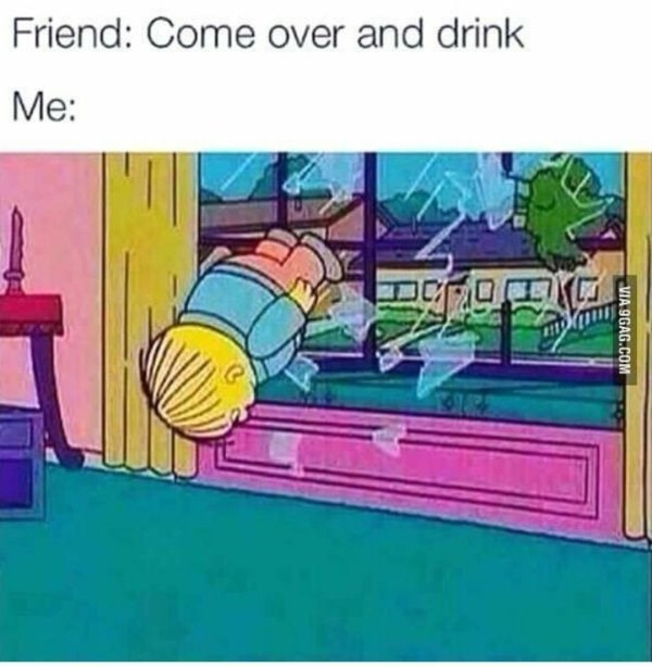 thirsty Thursday meme about being excited to drink with pic of Ralph from The Simpsons flying in through a window