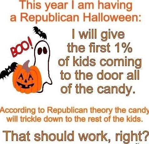 Text - This year I am having a Republican Halloween: I will give the first 1% of kids coming to the door all of the candy. BOO! According to Republican theory the candy will trickle down to the rest of the kids. That should work, right?