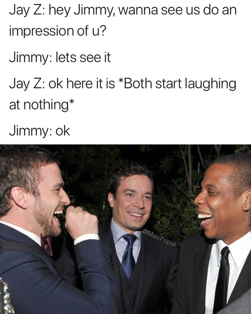 Funny meme about jimmy fallon laughing at nothing.