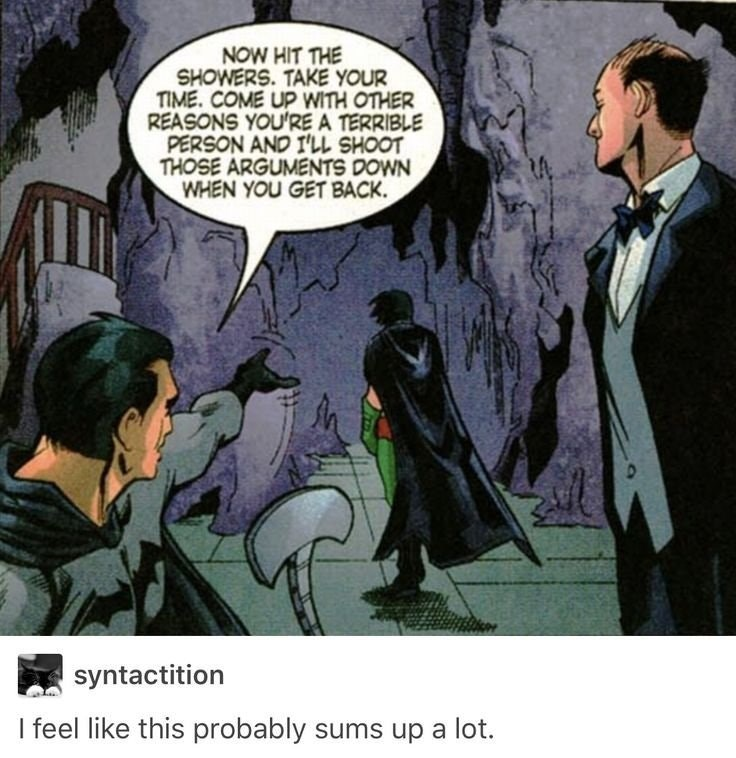 Webcomic of Batman punishing Robin with joke that it sums up much of the story.