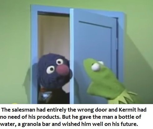 Kermit and Grover meme about salesman who goes to the wrong house.