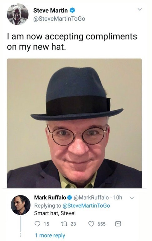 Steve Martin shows off his new hat and Mark Ruffalo compliments him.