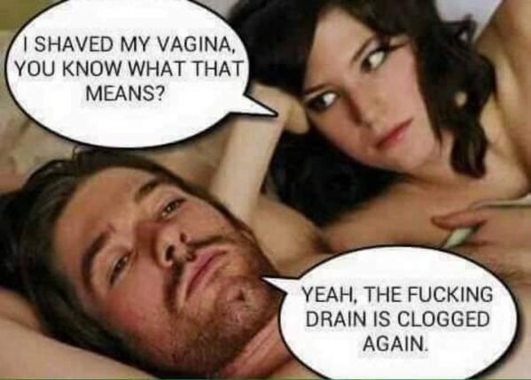 inappropriate sexy meme of man and a woman laying in bed talking about pubic hair clogging the drain - 20 sexual memes just for adults