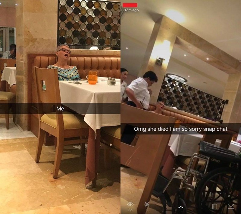 offensive meme of man snapchats an old women passed out at a restaurant and then apologizes because turns out she was dead