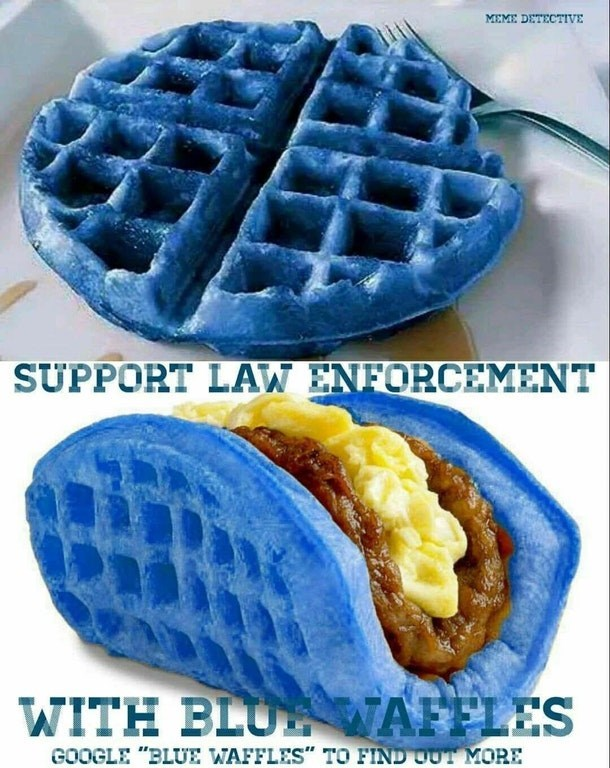 offensive bait and switch meme of a blue waffle meme trying to get users to google the phrase