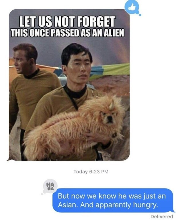 offensive star trek meme of a dog that passed for an alien in a DM joking the George Takai is the alien and he wanted to eat the dog