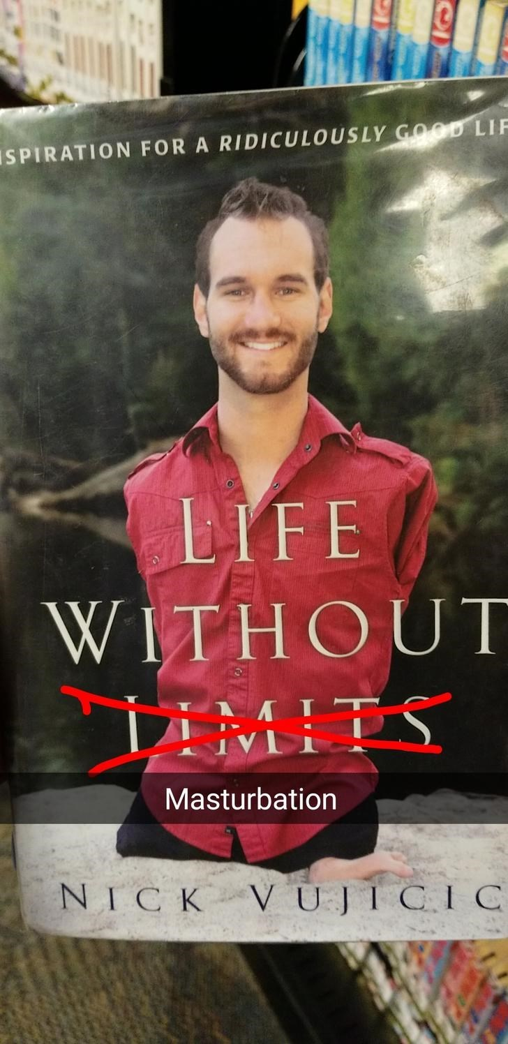 offensive meme of book of man with no arms and legs and how he did so much, with joke being that he couldn't masturbate