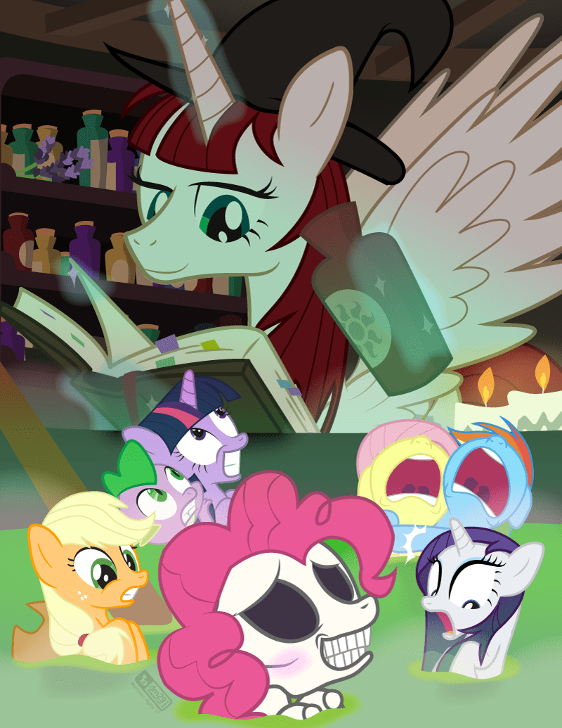 spike lauren faust applejack twilight sparkle dm29 pinkie pie fausticorn rarity spooky scary skeletons fluttershy rainbow dash - 9090030080