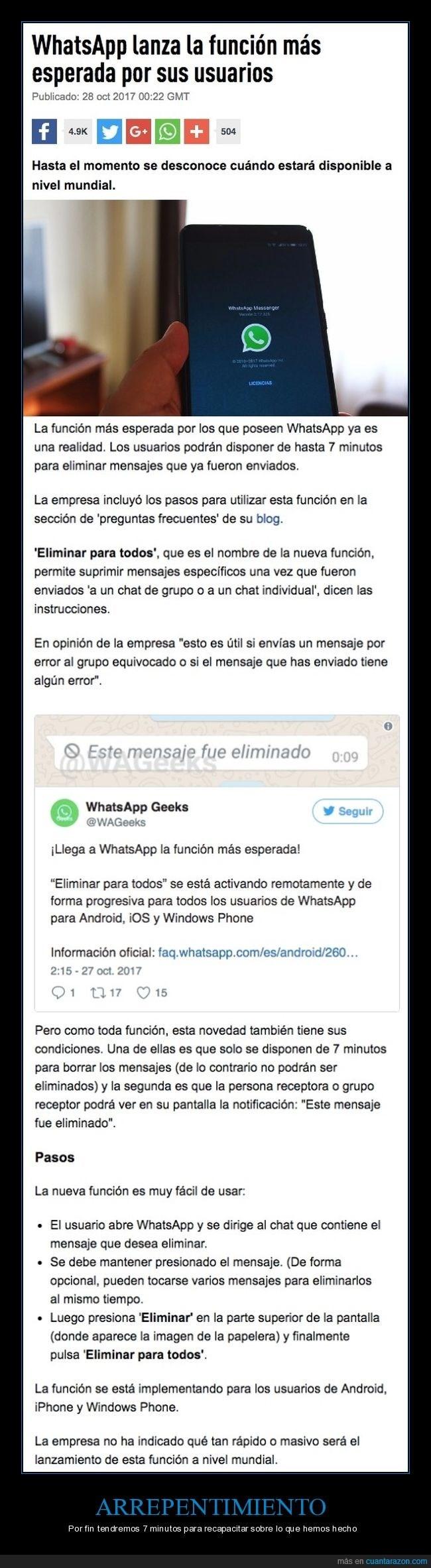 actualizacion de whatsapp para eliminar mensajes ya enviados