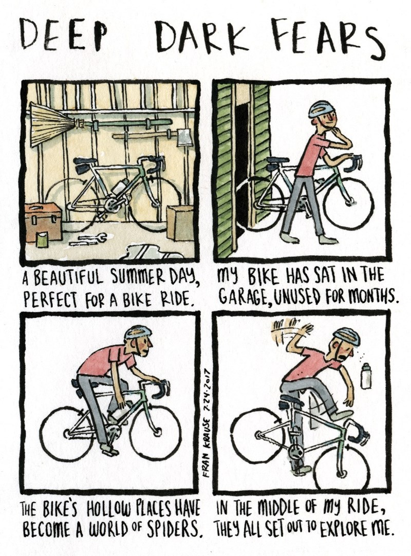 Cycling - DEEP DARK FE APS A BEAUTIFUL SUMMER DAY, my BIKE HAS SAT IN THE PERFECT FOR A BIKE RIDE GARAGE,UNUSED FOR MONTHS THE BIKES HOLLOW PLACES HAVE IN THE MIDDLE OF my RIDE, BECOME A WORLD OF SPIDERS. THEY ALL SET OUT TO EXPLORE ME. FRAN KRAUSE 72y.2017
