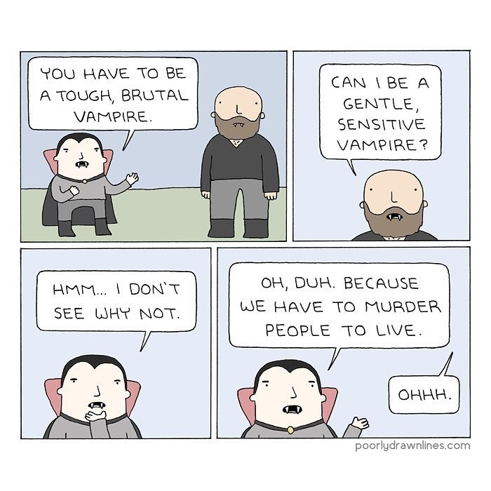 Funny web comic about teaching a vampire how to be a vampire.