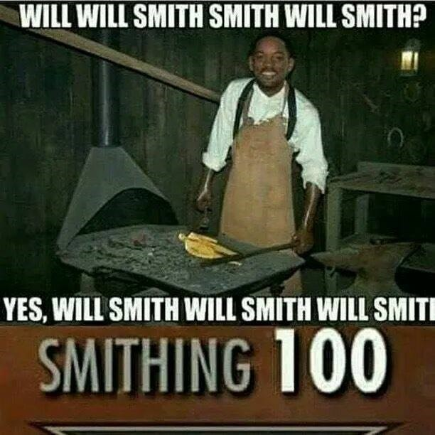 Funny meme about gaming, featuring will smith and smithing skills.