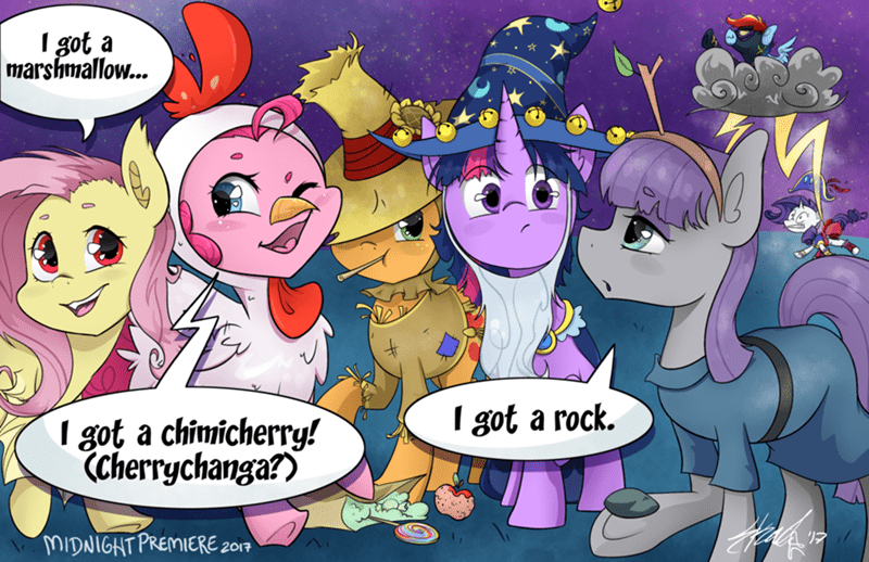 midnightpremiere applejack halloween twilight sparkle nightmare night pinkie pie rarity charlie brown maud pie fluttershy rainbow dash - 9090708224