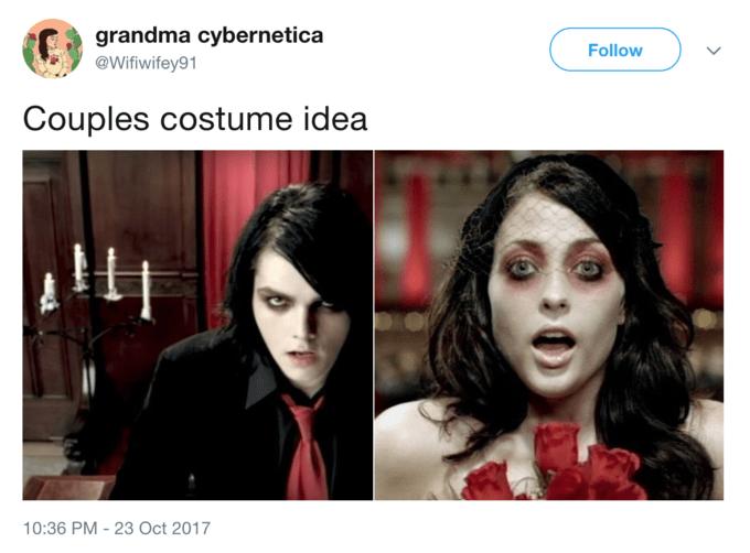 Facial expression - grandma cybernetica Follow @Wifiwifey91 Couples costume idea 10:36 PM-23 Oct 2017