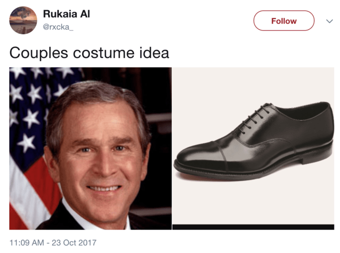 Footwear - Rukaia Al Follow @rxcka Couples costume idea 11:09 AM-23 Oct 2017