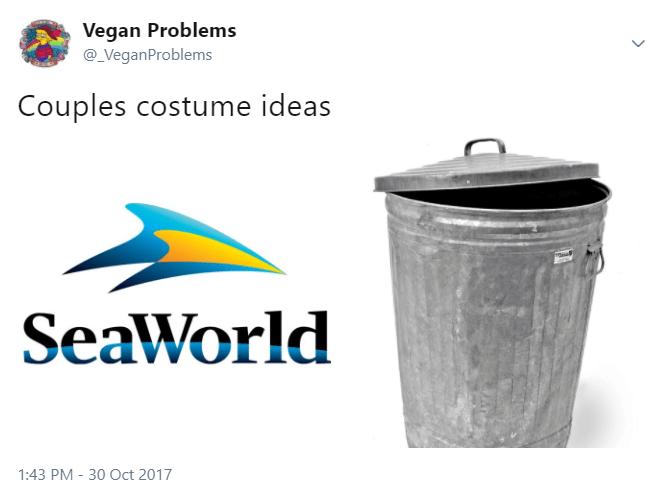 Product - Vegan Problems @_VeganProblems Couples costume ideas asl SeaWorld 1:43 PM 30 Oct 2017