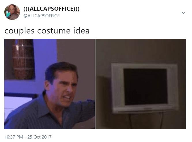 Text - (((ALLCAPSOFFICE))) @ALLCAPSOFFICE couples costume idea 10:37 PM - 25 Oct 2017 >