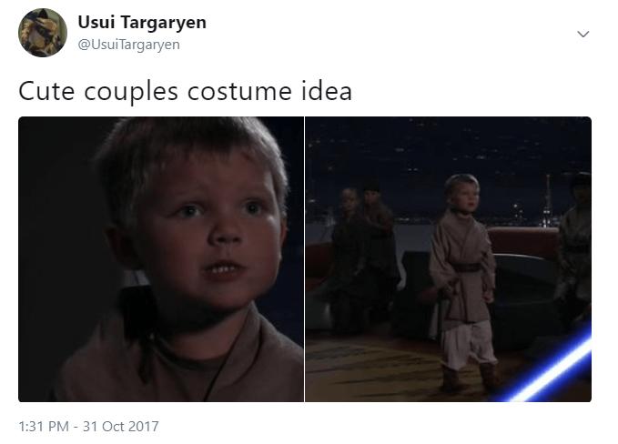 Adaptation - Usui Targaryen @UsuiTargaryen Cute couples costume idea 1:31 PM - 31 Oct 2017