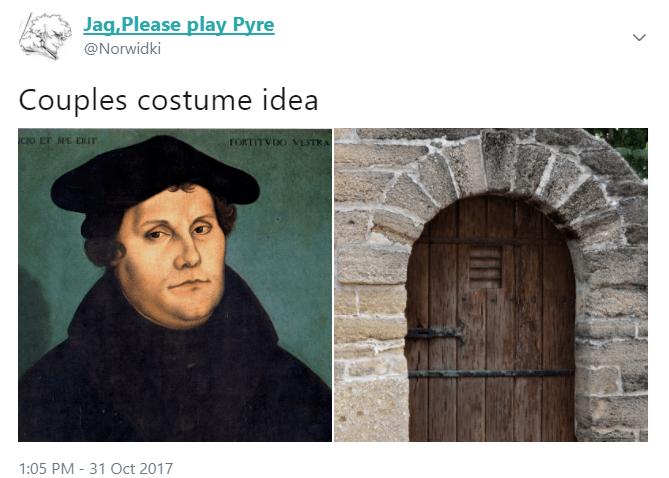 Text - Jag,Please play Pyre @Norwidki Couples costume idea CIO Er SPE ERIT FORTITVDO VESTRA 1:05 PM 31 Oct 2017