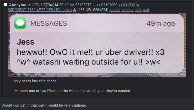 Funny meme about anime fan being an uber driver.