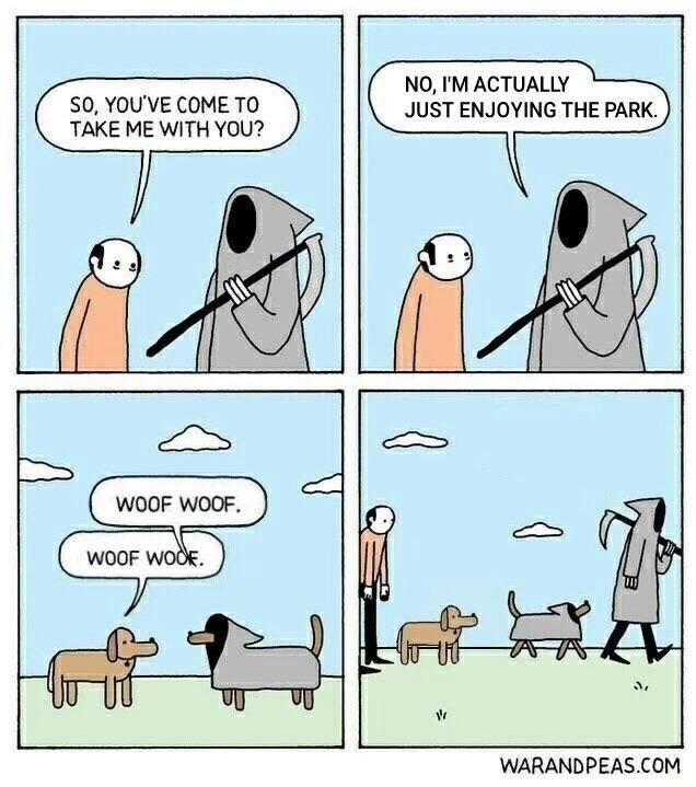 Funny web comic about the grim reaper at the dog park.