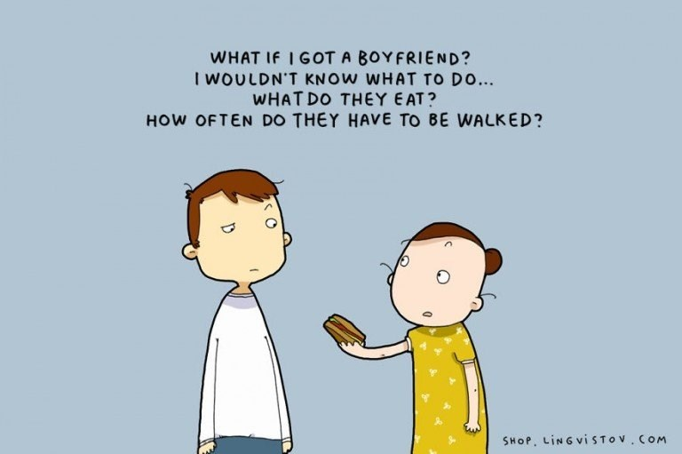 webcomic - Cartoon - WHAT If I GOT A BOYFRIEND? I WOULDN'T KNOW WHAT TO DO... WHATDO THEY EAT? HOW OFTEN DO THEY HAVE TO BE WALKED? SHOP, LINGVISTOV.COM C