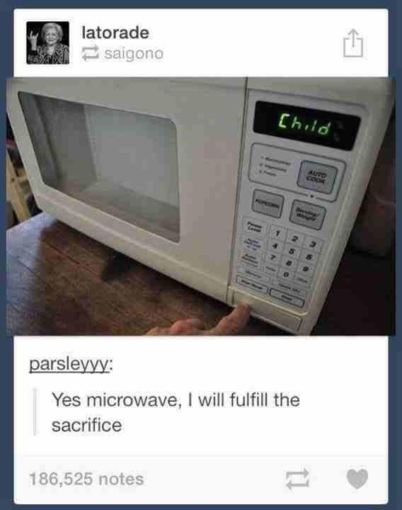Tumblr meme of microwave that says Child on the LCD screen with joke that it must be asking for a sacrifice