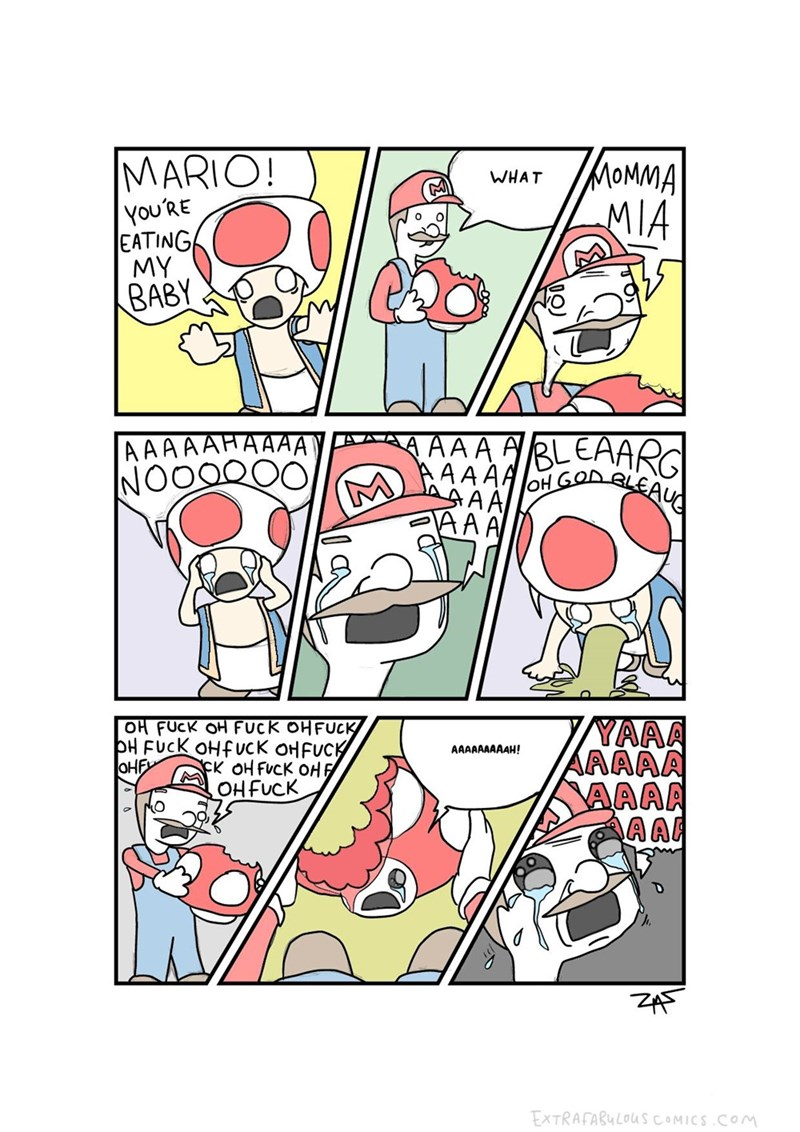 horrifying webcomic of Mario accidentally eating Toad's baby.