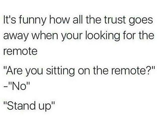 Meme about how there is no trust when looking for a remote