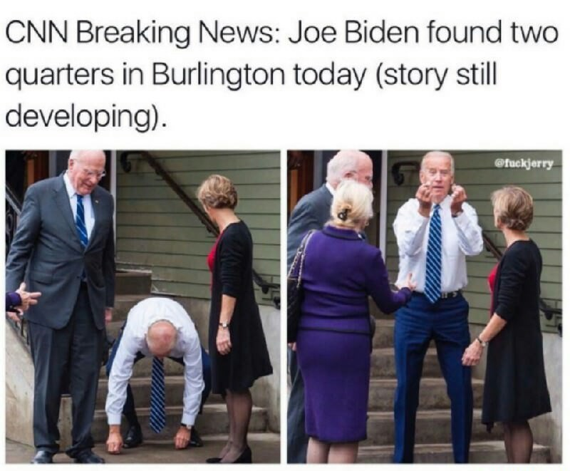 Meme about that time that Joe Biden found 2 quarters, joking that CNN would make that into breaking news.