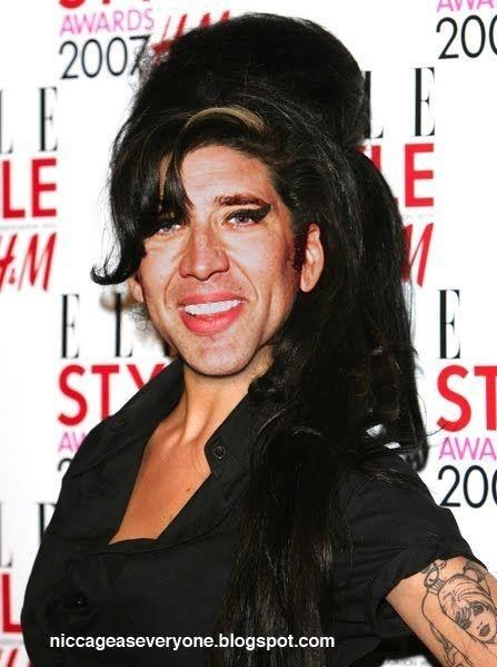 Nicolas Cage as Amy Winehouse at an award show