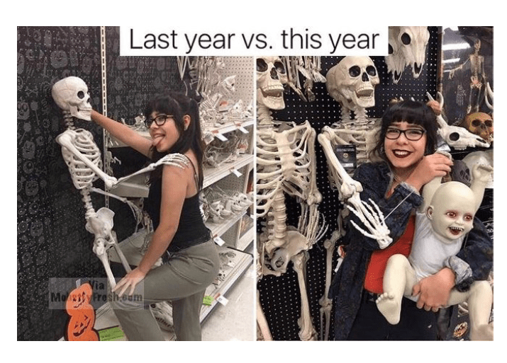 Funny meme of girl dancing with skeleton at Halloween party last year and now has skeleton and ghoul baby