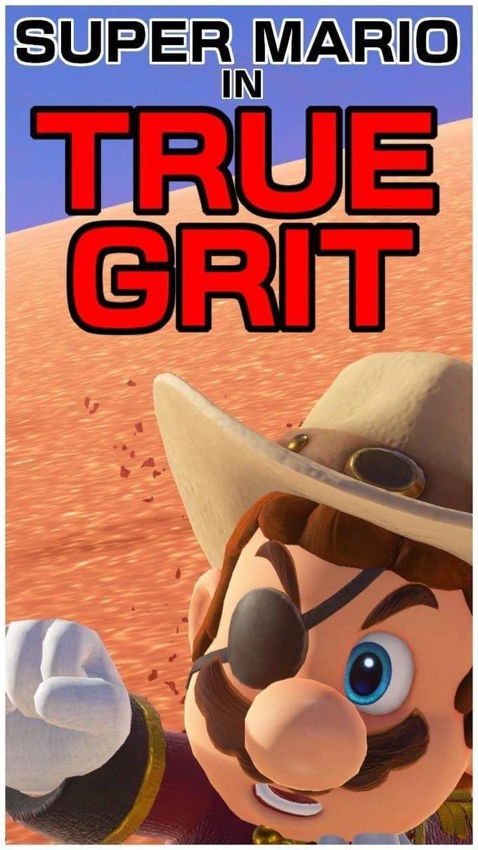 Super Mario in a meme that looks like he is in True Grit movie