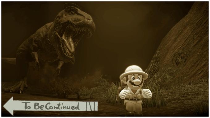 Mario running from T-rex