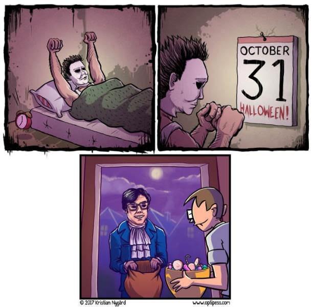 Cartoon - OCTOBER 31 HALLOWEEN! www.oplipess.co 2017 Kristian Nuord