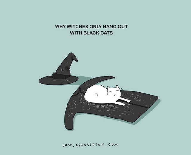 Cartoon - WHY WITCHES ONLY HANG OUT WITH BLACK CATS SHOP. LiNGViSTOV COM