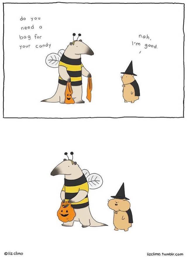 Cartoon - do you need a nah bag for \m good. your candy lizclimo. tumblr.com liz climo