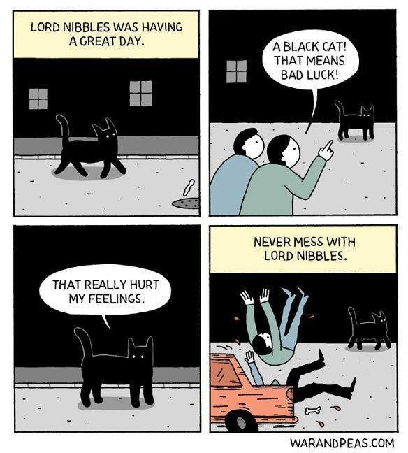 Cartoon - LORD NIBBLES WAS HAVING A GREAT DAY. A BLACK CAT! THAT MEANS BAD LUCK! NEVER MESS WITH LORD NIBBLES THAT REALLY HURT MY FEELINGS ISZ WARANDPEAS.COM