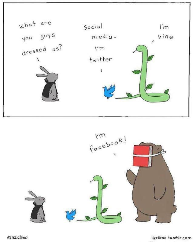Text - what are Social I'm guys you media- vine dressed as? m twitter I'm facebook! liz climo lizclimo. tumblr.com