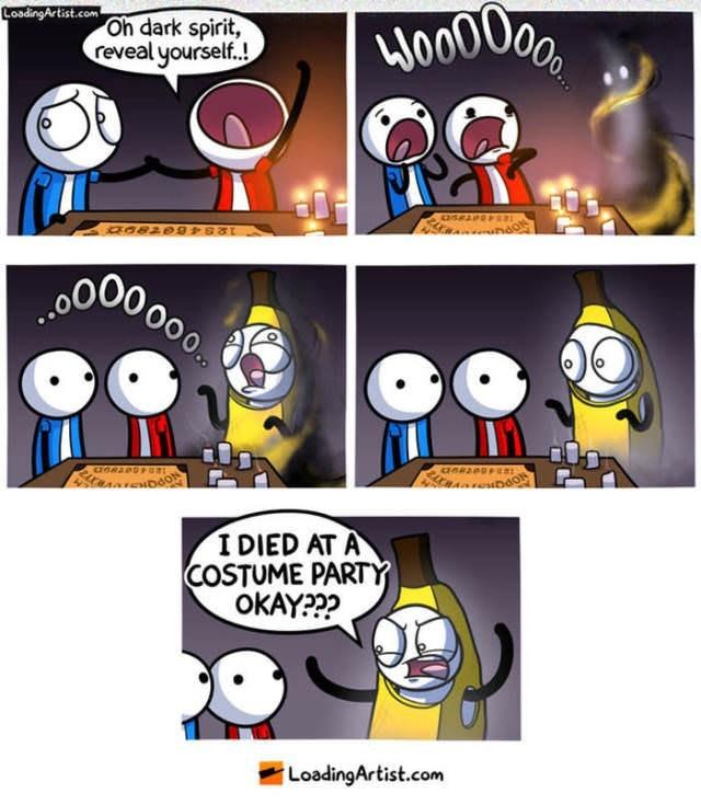 Cartoon - LoadingArtist.com Oh dark spirit, reveal yourself..! Woo00 BO00 000 Oоо. Stasanboo I DIED AT A COSTUME PARTY OKAY??? LoadingArtist.com