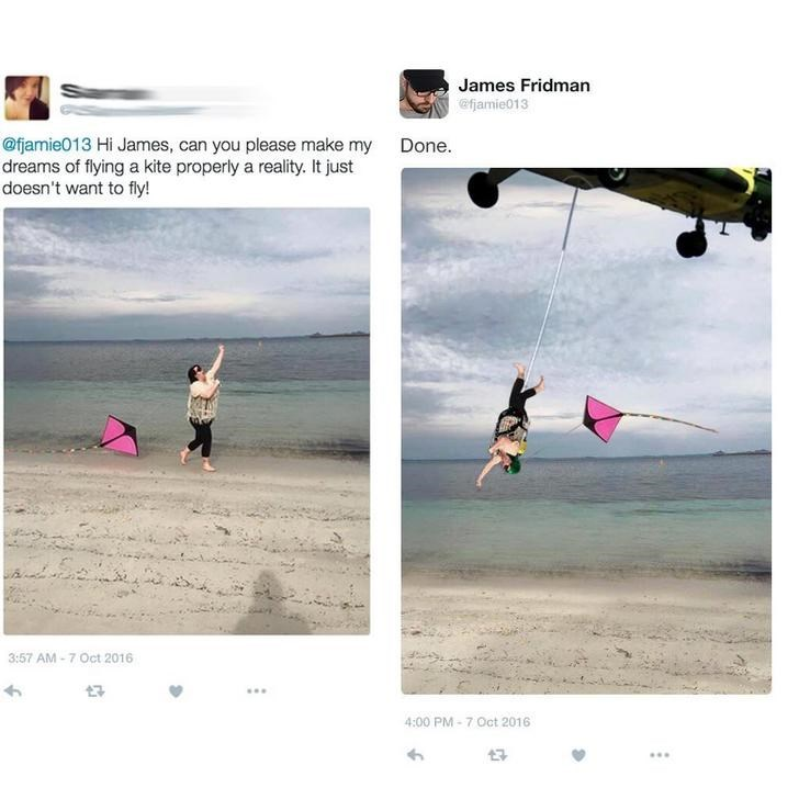 two pictures woman flying kite at beach Hi James, can you please make my dreams of flying a kite properly a reality. It just doesn't want to fly! Done. 3:57 AM-7 Oct 2016 4:00 PM-7 Oct 2016