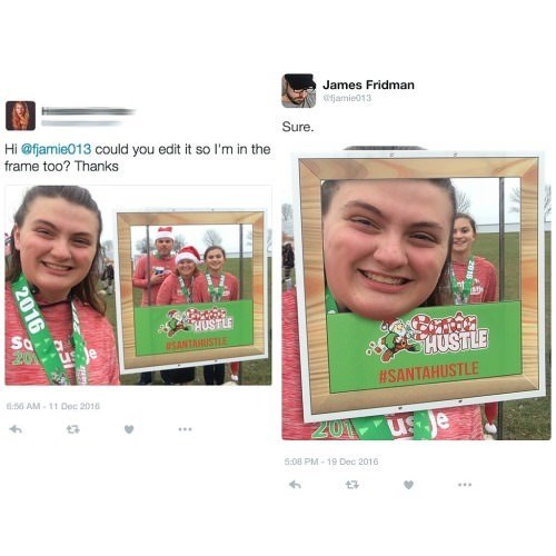 two pictures girl smiling santa clothes face in frame Sure. Hi @fjamie013 could you edit it so I'm in the frame too? Thanks HUSTLE So 201 us e SHUSTLE SANTAHUSTLE #SANTAHUSTLE 8:50 AM-11 Dec 2016 ZO1 us e 5:08 PM-19 Dec 2016 2016