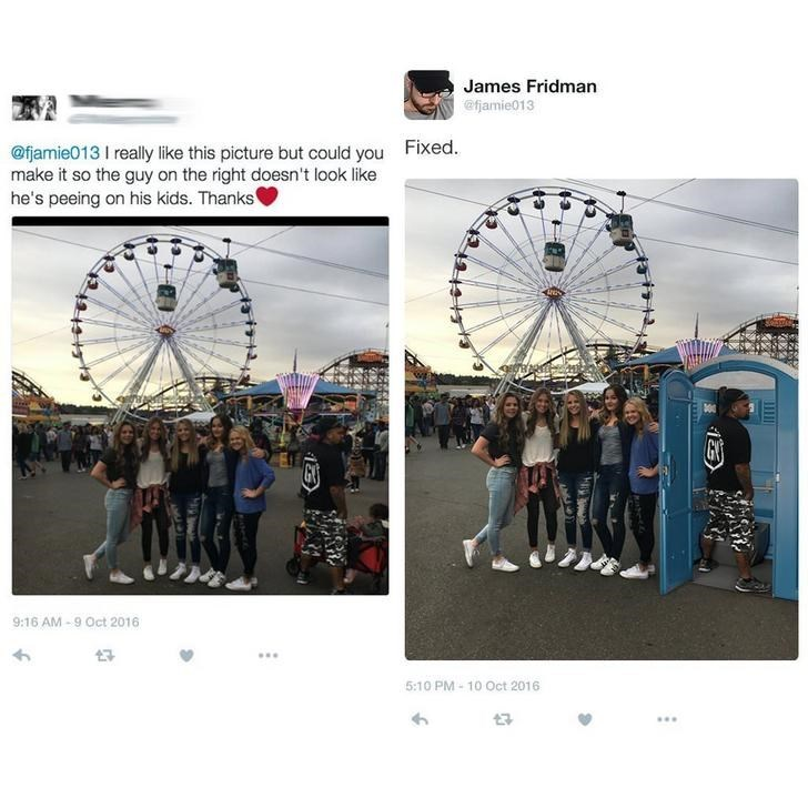 two pictures group of people posing in front of ferris wheel I really like this picture but could you make it so the guy on the right doesn't look like he's peeing on his kids. Thanks 9:16 AM-9 Oct 2016 5:10 PM-10 Oct 2016