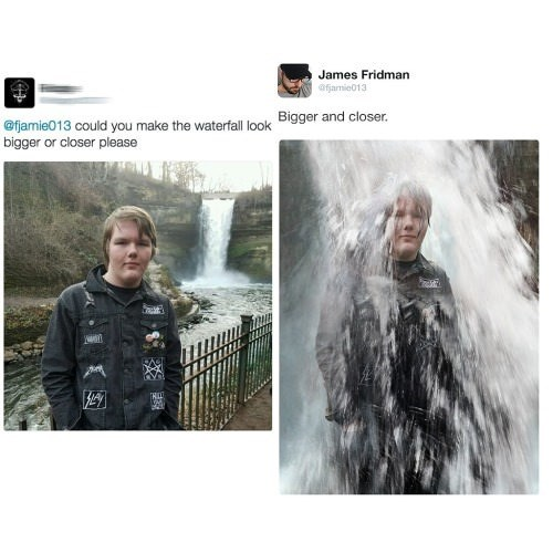 picture boy standing in front of waterfall and picture of boy in waterfall could you make the waterfall look Bigger and closer. bigger or closer please t