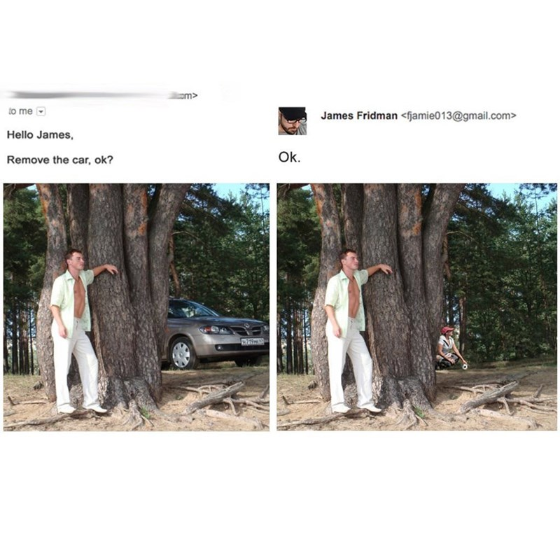 picture guy in white clothing posing in front of tree in woods Hello James, Ok. Remove the car, ok? 719x