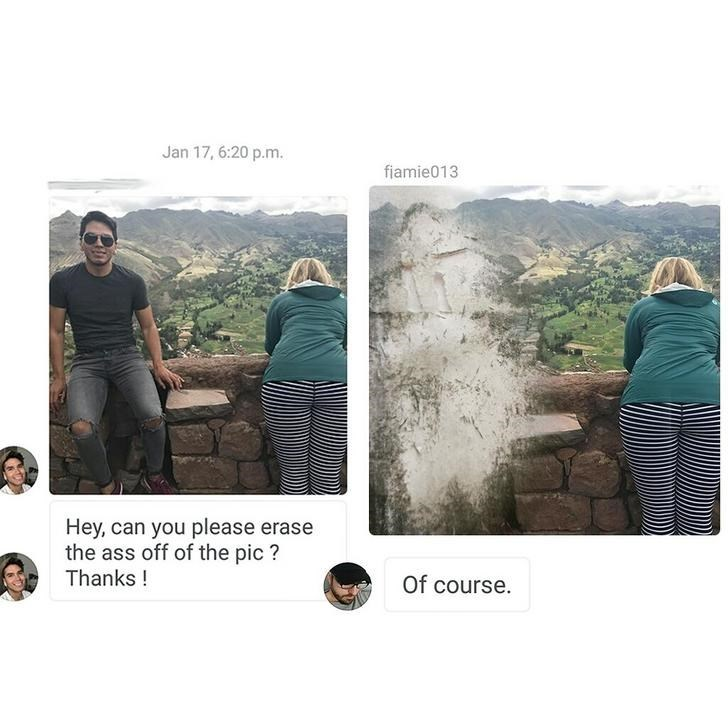 two pictures couple leaning on wall, guy erased Hey, can you please erase the ass off of the pic? Thanks! Of course